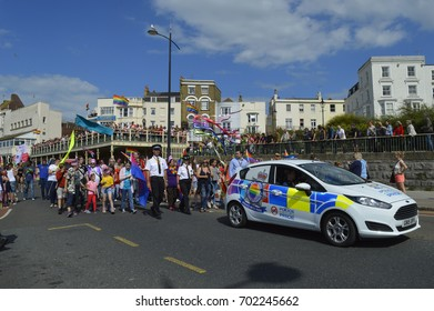 MARGATE, UK-AUGUST 12: Police and a police car join in the colourful Gay Pride Parade, part of the annual Margate Pride festival. August 12, 2017 in Margate, UK.