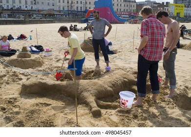MARGATE, UK-SEPTEMBER 10: Contestants take part in the RIBA Sandcastle Challenge on Margate's main sands. Margate has been voted best seaside town in Britain. September 10, 2016 in Margate, Kent UK.
