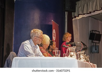 MARGATE, UK-SEPTEMBER 5: Jeremy Corbyn, now Labour Party Leader, heads the panel at the rally in Margate's Winter Gardens. September 5, 2015, in Margate, Kent UK