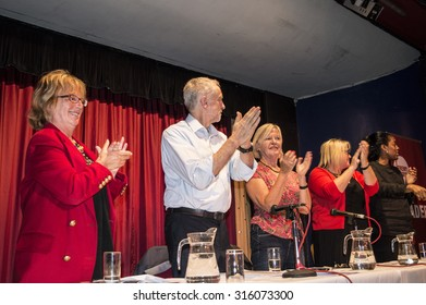 MARGATE, UK-SEPTEMBER 5: Jeremy Corbyn, now Labour Party Leader, applauds members of the rally in the Winter Gardens, Margate. September 5. 2015 in Margate, Kent UK.
