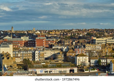 Margate, United Kingdom - February 5, 2021: The view from Arlington House in Margate towards Cliftonville, with the Thanet Offshore Wind Farm on the horizon.