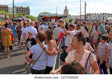 Margate,Kent/UK 08-11-18 Margate's Pride day 2018. A huge, colourfully dressed, crowd watching the after parade entertainment on the stage