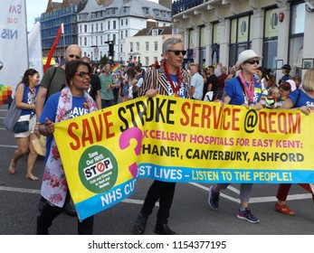 Margate,Kent/UK 08-11-18 Margate's Pride Event 2018, Marchers appealing for saving of the stroke service