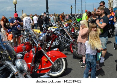MARGATE,KENT/UK-MAY 27 2019: Hundreds of Bikers some with custom bikes flock to Margate for the annual Ace Cafe charity bike ride, the Margate Meltdown. Visitors enjoy the motor bikes on display.