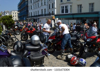MARGATE,KENT/UK-MAY 28 2018: Hundreds of Bikers some with custom bikes  flock to Margate for the annual Ace Cafe charity bike ride, the Margate  Meltdown. Visitors enjoy the bikes on display.
