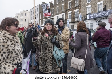 MARGATE,UK-FEBRUARY 28: Anti UKIP and racism protesters, with banners, placards and music, march on UKIP'S conference in Margate's Winter Gardens. February 28, 2015 in Margate Kent, UK.