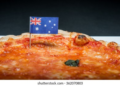 Margherita pizza with Australian flag. Margherita pizza with tomato sauce and basil oil cooked in a wood oven original Italian