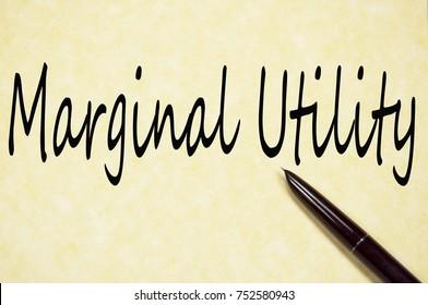 marginal utility text write on paper