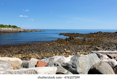 The Marginal Way at Coast Line of Ogunquit, Maine. Originally built in 1925  the Marginal Way is a walking trail that stretches from Perkins Cove in the south to the middle of Shore Road