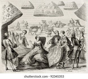 Margot, renowned farthingales merchant in Paris (early 17th century). After old print kept in French Royal Library, published on Magasin Pittoresque, Paris, 1845