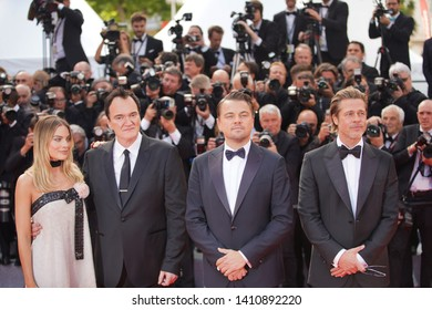 "Margot Robbie, Quentin Tarantino, Leonardo DiCaprio and Brad Pitt attend the screening of ""Once Upon A Time In Hollywood"" during the 72nd annual Cannes Film Festival on May 21, 2019 in Cannes, France."