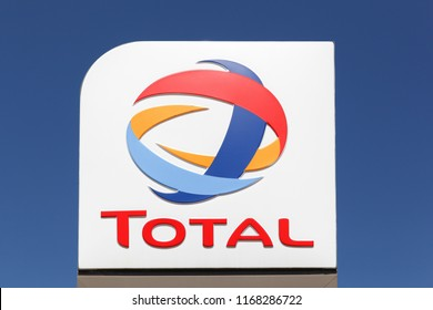 Marguerittes, France - July 1, 2018: Total logo on a pole. Total is a french multinational integrated oil and gas company and one of the six supermajor oil companies in the world