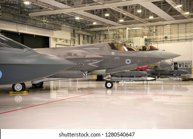 Marham UK, 10 January 2018. Conservative Member of Parliament and UK Defence Minister Gavin Williamson announces that the F-35 has achieved it IOC and Typhoon has achieved Project Centurian goals