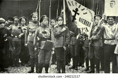 Maria Bochkarieva's women's battalion's banners blessed. June 1917. 'The Women's Death Battalions' were formed to shame deserting Russian soldiers, during the Russian Revolution.