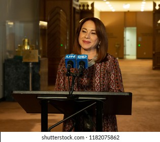 Maria Fernanda Espinosa Garces President of 73rd Session of General Assembly speaks to media at United Nations Headquarters