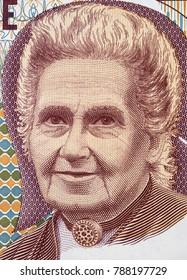 Maria Montessori portrait on 1000 Italy lira (1990) banknote close up, famous Italian educator and author of Montessori Method of education.