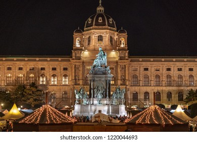 Maria Theresa statue in central Vienna Austria at night