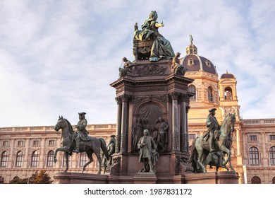 Maria Theresien monument with four sets of statues.  Art History and Natural History Museums in Vienna . Maria Theresien Platz in Vienna downtown - Shutterstock ID 1987831172