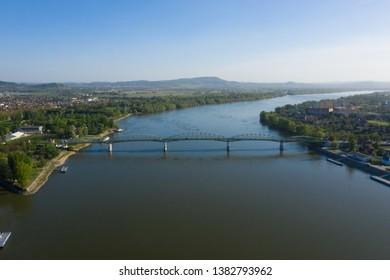 The Maria Valeria bridge aerial - joins Esztergom in Hungary and Sturovo in Slovakia, across the River Danube