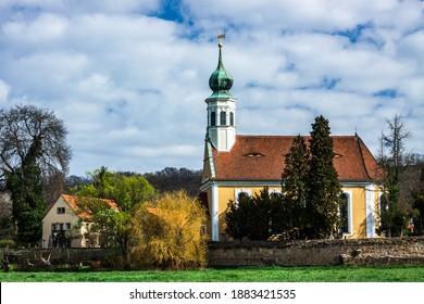 The Maria am Wasser church in the Pillnitz district of Dresden. - Shutterstock ID 1883421535