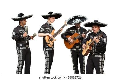 Mariachi band. Isolated on white background