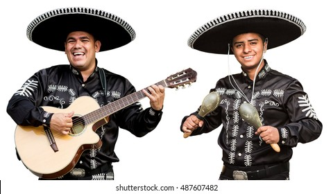 Mariachi with a guitar and maracas. Isolated on white background