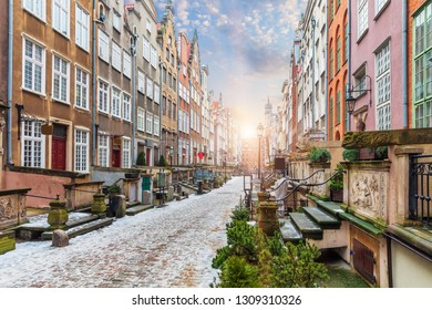 Mariacka street, a famous street in Gdansk, Poland, sunrise view