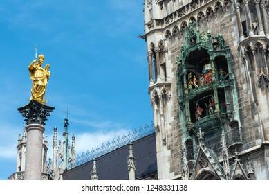 The Marian Column and the Clock chimes at the Marienplatz in Munich, Germany