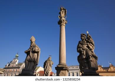 Marian Column on Charles Square, city Kolín, Czech republic,