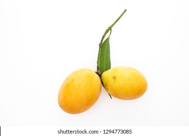 marian plum or plum mango , bouea macrophylla, on white background. Marian plum in Thai is called maprang.