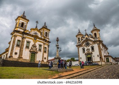 Mariana, Brazil, November 06, 2016: Mariana in the state of Minas Gerais is one of Brazil's best preserved colonial towns. Mariana is one of the most popular travelling destinations in Brazil.