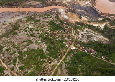 "Mariana, Oct. 30th, 2016 - Aerial of Bento Rodrigues, the most affected district by the burst of Samarco's dam of Fundao, which caused a ""mud tsunami"" considered Brazil's worst enviromental tragedy"