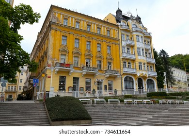 Marianske Lazne, Czechia - September 08, 2017: Beautiful architecture expressed in the abundance of decorative elements visible on the facades of the residential buildings of this magnificent spa town