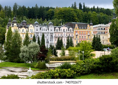 Marianske Lazne, Czechia - September 10, 2017: Spa town and tenement houses whose colorful facades are decorated with many architectural details