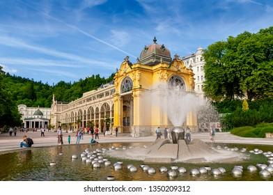 MARIANSKE LAZNE (MARIENBAD), CZECH REPUBLIC - JULY 28, 2017: Romantic architecture of Bohemia, Marianske Lazne (Marienbad), Czech Republic. the famous spa city in the Czech Republic