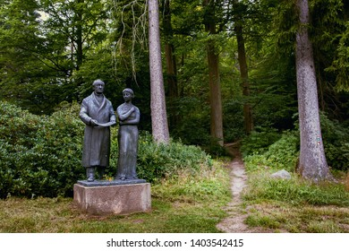 MARIANSKE LAZNE (MARIENBAD), CZECH REPUBLIC - JULY 28, 2017: Goethe and his Muse Ulrike von Levetzow, sculpture by Heindrich Drake.