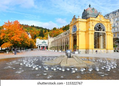 Marianske Lazne Spa, The Singing Fountain. The most famous fountain contains 10 intrinsic water jet systems with more than 250 water jets. - Shutterstock ID 115322767