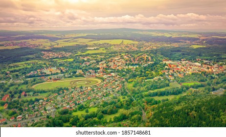 Marianske Lazne is a spa town in the Karlovy Vary Region of the Czech Republic. Aerial view to beautiful landscape around famous European landmark. - Shutterstock ID 1857148681