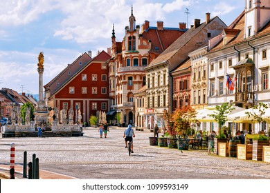 Maribor, Slovenia - April 29, 2018: Maribor Town Hall and Plague Column on the central square, Lower Styria, in Slovenia