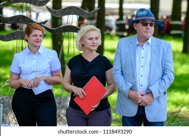 Maribor, Slovenia, June 10 2018 - Mayor of Maribor, Andrej Fistravec, Deputy Mayor of Hoce Slivnica Andreja Kavas and Deputy Mayor Miklavz na Dravskem polju Mirjana Vazzaz Fercec attending Ceremony at