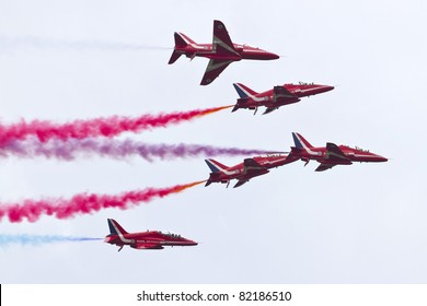 MARIBOR, SLOVENIA - JUNE 3:  Red Arrows on the Aviofun airshow at the airport in Maribor on June 3, 2011 in Maribor, Slovenia