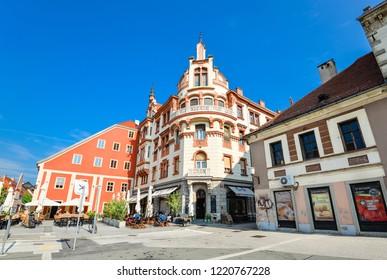 Maribor, Slovenia - May 20, 2018: Rotovz Town Hall Square in Maribor, Lower Styria, Slovenia