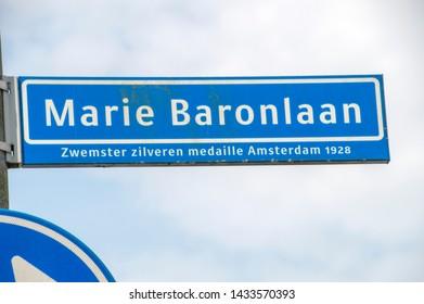 Marie Baronlaan Street Sign At Amstelveen The Netherlands 2019