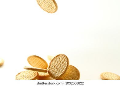Marie biscuit in white background / A Marie biscuit is a type of biscuit similar to a rich tea biscuit.