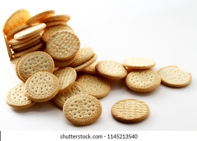 Marie biscuit in white background / Marie biscuit is a type of biscuit similar to a rich tea biscuit