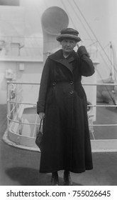 Marie Curie, Polish-French physicist who won two Nobel Prizes, in 1903 for Physics and 1911 for Chemistry. She was on an ocean liner in New York City, ca. 1920.