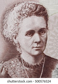 Marie Curie portrait Poland 20 Zlotych banknote close up macro. Famous scientist (chemistry and physics), pioneer in research of radioactivity, Nobel Prize winner.