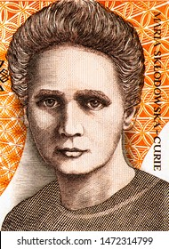 Marie Skłodowska Curie portrait from Poland 20,000 Zlotych banknote. was a Polish and naturalized-French physicist and chemist who conducted pioneering research on radioactivity. Polish money. Closeup