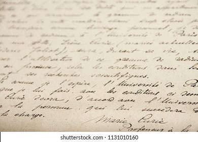 Marie Curie´s handwritten manuscript about her research on radioactivity. Curie museum, Paris - 23 June 2018