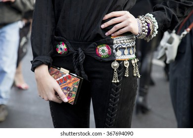 Marie Nasemann is pictured during the Mercedes-Benz Fashion Week Berlin Autumn/Winter 2016 at Brandenburg Gate in Berlin, Germany on January 21, 2016. Detail of bag and belt